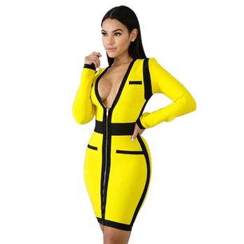 Fashion Nova Bandage Dresses Bodycon 2019 Women Clothing , Buy High Quality  Sleeve Bodycon Dress With Zipper,Yellow Bandage Dresses Bodycon For Club
