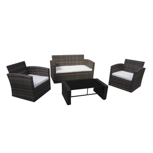 Plastic rattan sofa set with cushion 4 seaters