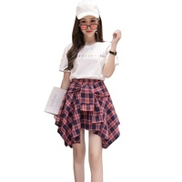 Spring and summer new Korean version of high-waisted student skirt skirt irregular plaid skirt