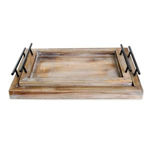 High quality Farmhouse Rustic Wooden Serving Trays with Metal Handles