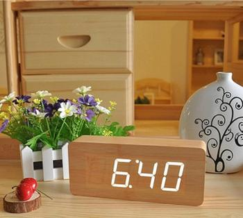 hot sale cheap digital Wooden wood LED Alarm Clock, Wooden Digital Table Clocks For Promotion Gift