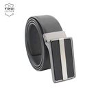 Black Brown Genuine Leather Men Reversible Buckle Belt