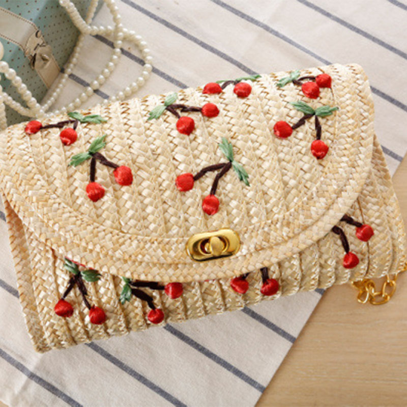 Zogift new embroidered woven sling fruit beach bag japanese style girl cross straw cherry chain bag women