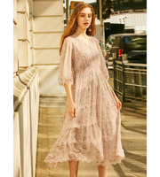 2019 Summer high quality high waist fashion korean style long sleeve pink lace midi dress