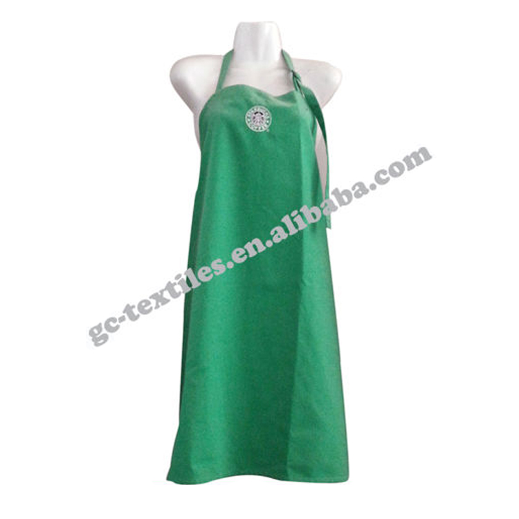 Green sleeveless apron with bib and adjust buckle