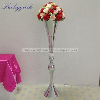 LDJ473 1.1m large size silver floor standing trumpet vase wholesale wedding flower vase & Ldj473 1.1m Large Size Silver Floor Standing Trumpet Vase Wholesale ...