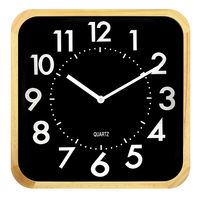 16 inch square wood made frame silent home decorative modern simple style wooden wall clock