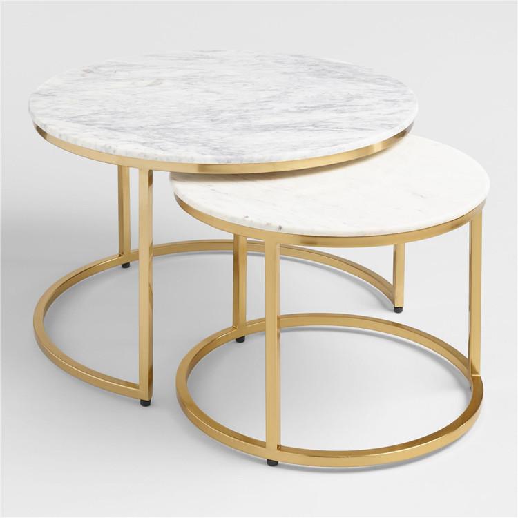 Round Nest Marble Coffee Table Set Lady Tops Sets Ayva Nesting