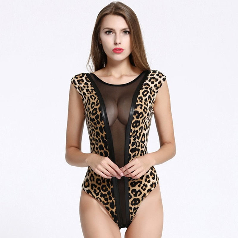 Black sexy womens faux leather latex bodysuit catsuit zipper leotard nightclub