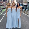 Girls Blue Elegant Bridesmaids Dress Plus Size Simple Bridesmaids Dresses Side Slit Long Party Wear Gown