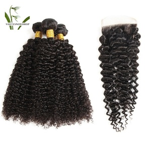 Brazilian Hairs Dropshipper Raw Virgin Cuticle Aligned Water Curly Human Hair Weft closer Bundles With Closure Vendor