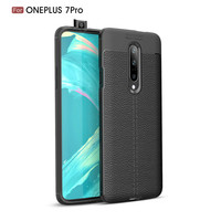 For Oneplus 7 Pro Lichi Leather Pattern TPU Mobile Phone Cover Case