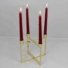 CH-31748 Folded Design Wedding Table Copper Or Golden Plated Color Candle Holder For 4Pcs Dinner Candle