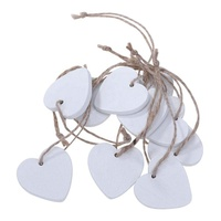 Wooden Heart Embellishments Craft Shapes Hanging Ornaments Pendant with Natural Twine