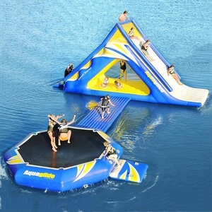 Mini commercial water park inflatable trampoline with slide cheap water island floating park for sale