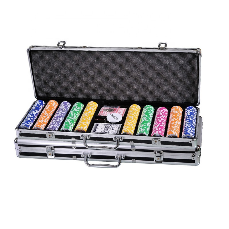 100 200 300 400 500 600 1000 PCS Custom Gedrukt Klei Plastic Poker Chips Gift Set in Zilver Aluminium Case