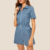 Zip Front Flap Pocket Short Sleeves Denim Romper Women One Piece Bodycon Jumpsuit