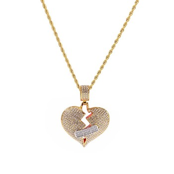 2019 Chuangke heartbreak Necklaces Pendant Charm Men's Zircon Hip Hop albums Jewelry Gold Silver Tennis Chain dropshipping