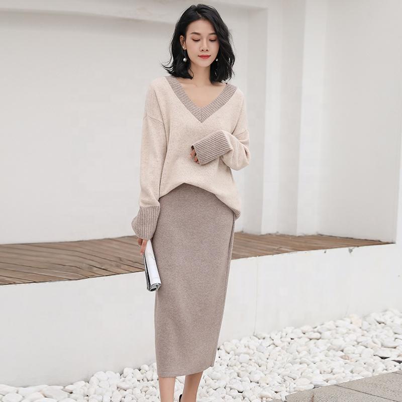 100% lana 2018 nuevo suéter de Cachemira de las mujeres con cuello en V  suéter d6bb24156492