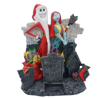 Santa Jack Skellington & Sally Halloween Polyresin Figurine for The Nightmare Before Christmas
