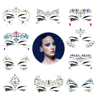 Wholesale self-adhesive acrylic crystals face stickers glitter rhinestone body gems for party