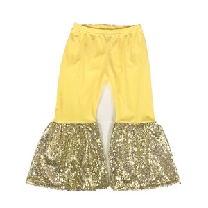 yellow cotton and gold sequin toddler flare pant bell bottoms baby pants