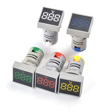 LED Voltmeter 22MM AC 20-500V Square Panel Digital Voltage Meter Indicator Light Digital Panel Indicator Voltmeter