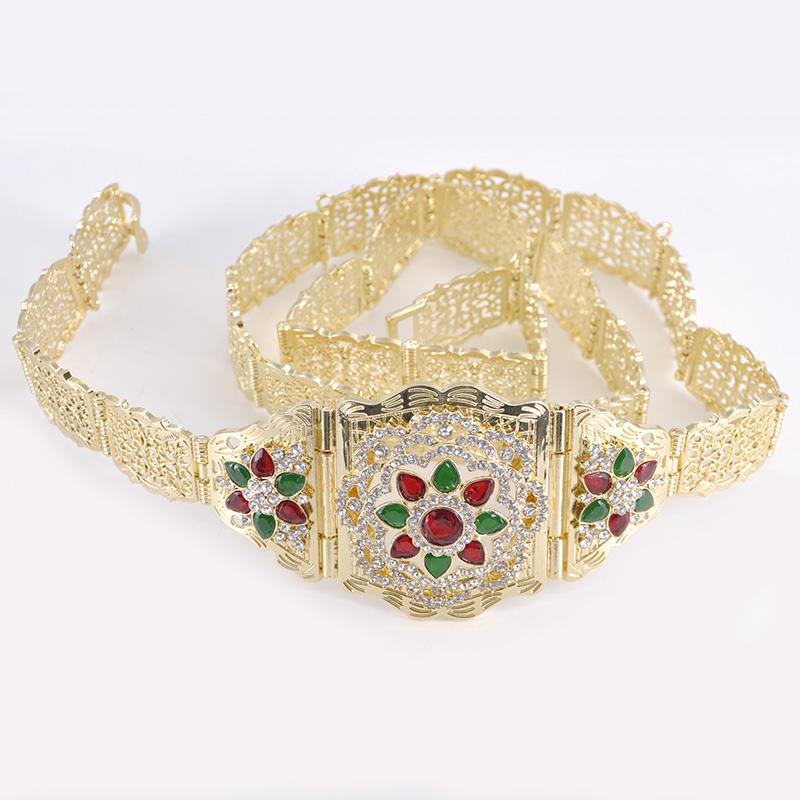 Traditional Moroccan caftan waist chain chic for women's wedding gold-plated gold color rhinestone metal belt