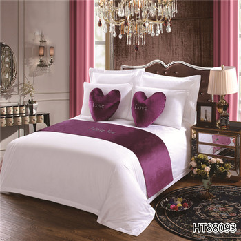 Deeda textile lovely  purple color bed runner and cushion cover with embroidery