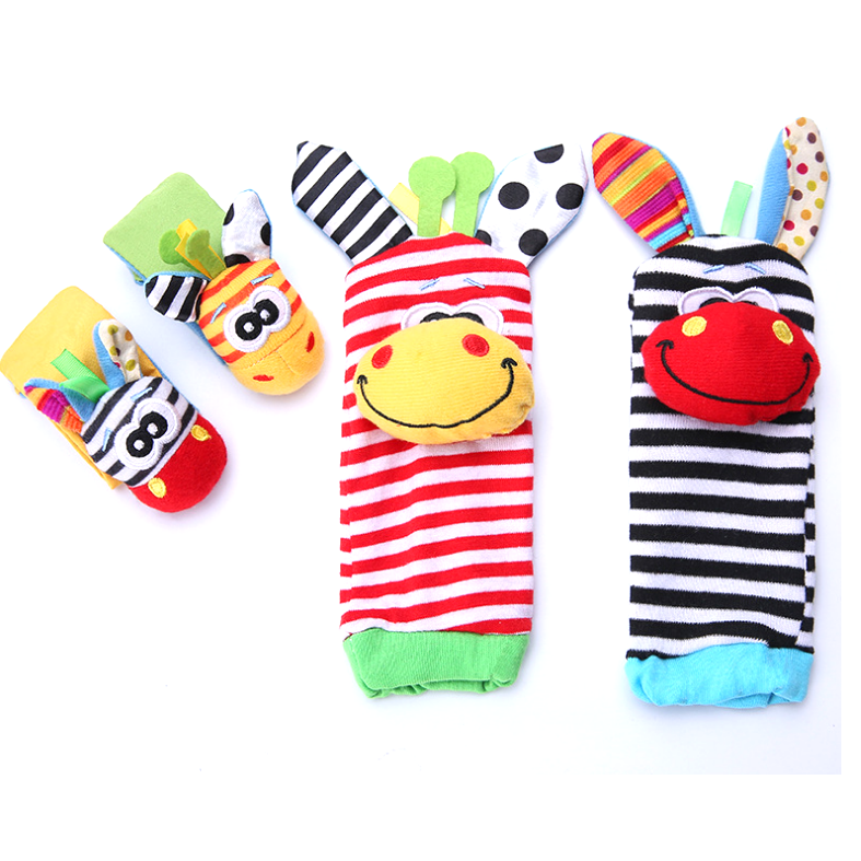 Animal Baby Infant Wrists Rattle and Socks Foot Finders Set Developmental baby squeaky toy