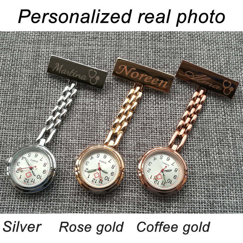 Personalized Customized Engraved With Your Name TOP QUALITY Pin Brooch Stainless Steel Lapel Pocket Watch Fob Nurse Watch