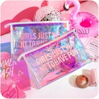 Custom Logo Personalized Transparent Holographic Fashion Cosmetic Bag, Portable PVC Travelling Zipper Small Makeup Pouch Bags +