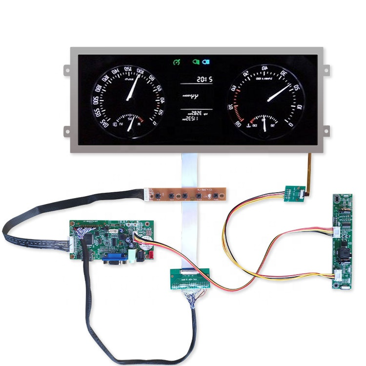 Ultra-wide allungato lvds automotive ips display lcd da 12.3 pollici tft 1920x720 con hdmi scheda di controllo di alta luminosità 850 cd/m2