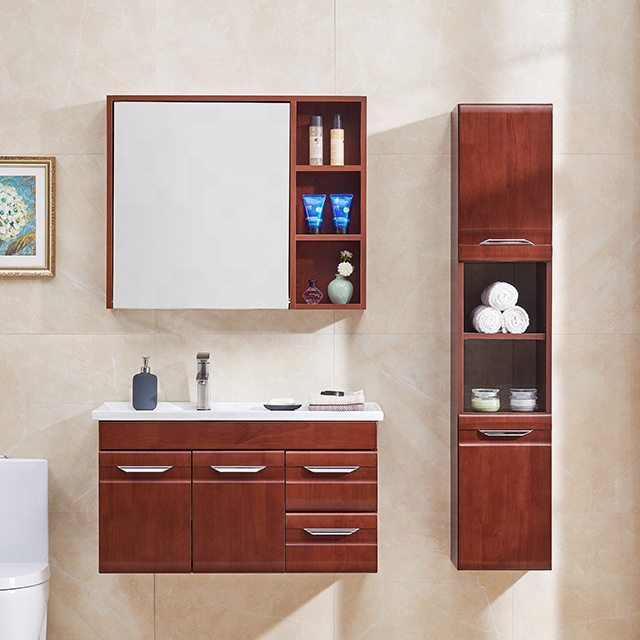 Commercial solid wood modern wall hung vanity