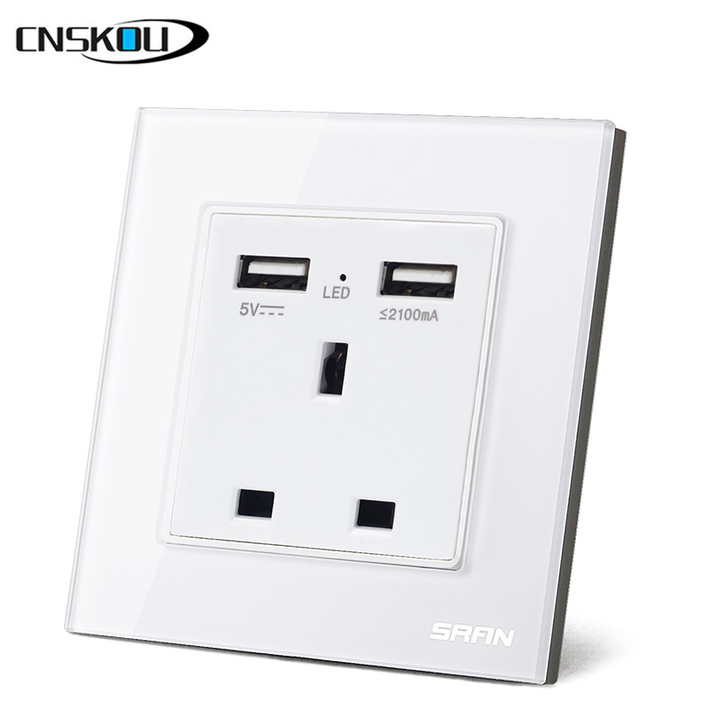 CNSKOU High Quality UK <strong>Standard</strong> 13A With 2 USB Port <strong>Socket</strong> Single Electrical Wall <strong>Socket</strong>
