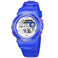 SYNOKE 9368 Boys and girls watches Round plastic PU digital watches Multi functional waterproof sports electronic watch