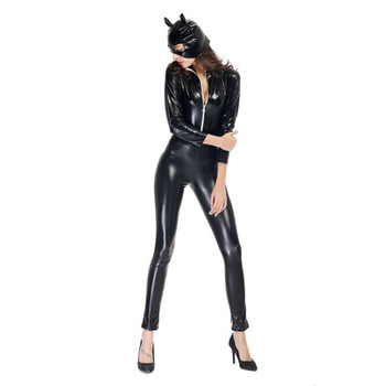 Black Sexy leather Jumpsuit woman cat costume Halloween Catwoman Costume cosplay costume+mask