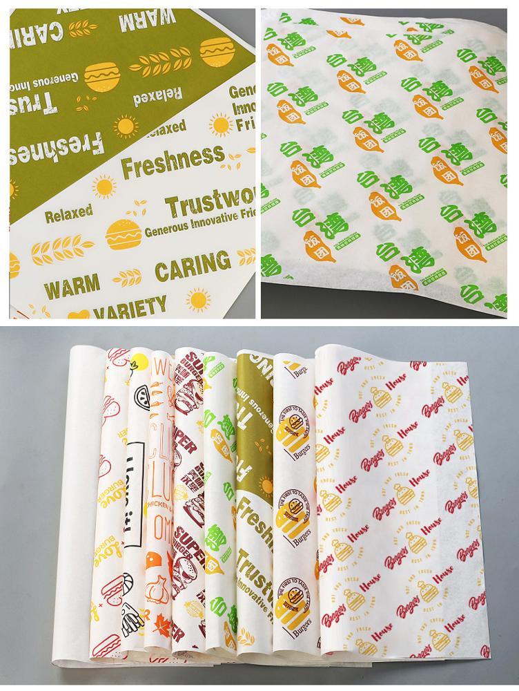 Low MOQ Custom Fast Food Hamburger Packaging Tissue Paper Food Grade Eco Friendly Ink Printing Logo Safe Non Toxic Wax paper