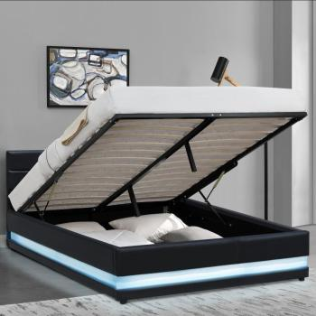 Modern upholstered black leather gas lift storage bed with LED light for wholesale