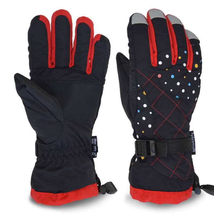 custom gilr's ski glove with printed logo design thick warm terry outdoor waterproof ski gloves