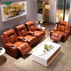 Custom luxury 3 seat fabric/leather home theater seating, cinema chair for living room