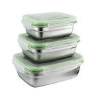 Stainless Steel Bento Lunch Box with Lids Food Containers Set Stainless Steel Leak Proof Meal Prep Containers