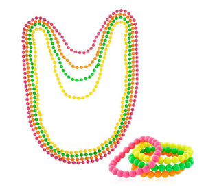 Neon Beads Necklace Bracelet 80s Costume Accessory Bright Rave Fancy Dress CA2856