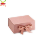 High-End Foldable Flat Pack Cardboard Paper Gift Box with Ribbon