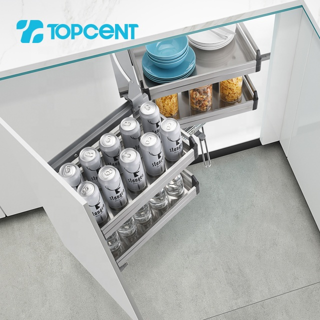 Topcent revolving corner pull out soft close storage stainless steel kitchen basket