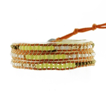Handmade Fashion Leather Woven Crystal Mixed Stone Beaded Wrap Bracelet