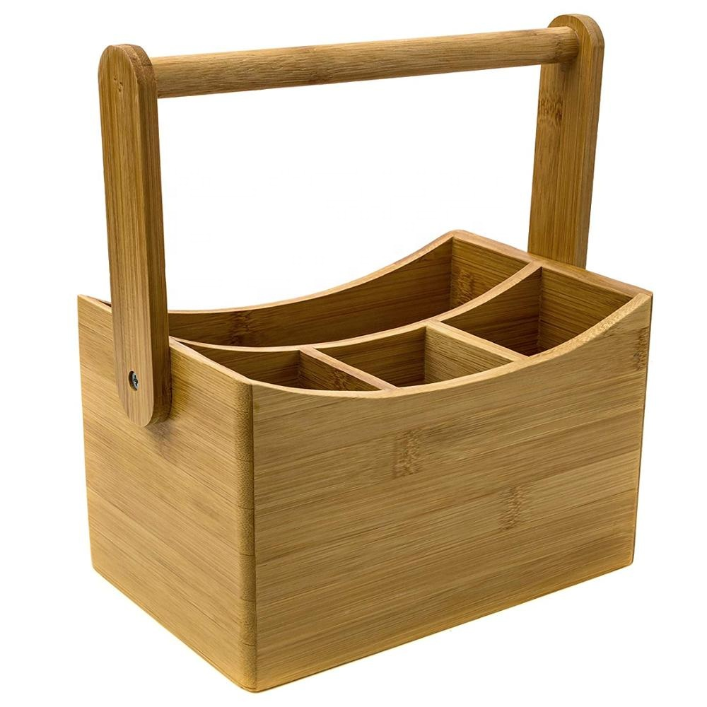 Refined-bam wooden condiment caddy