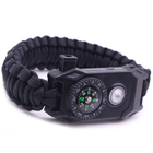 32 strands diamond braided Paracord 550 survival bracelet in polyester nylon material with flint compass whistle led light