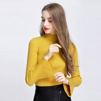 Elegant women fashion trumpet sleeve knitted sweater