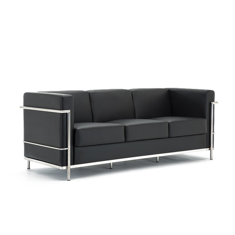 David HL-8008A Mid-century Contemporary Cubed Modern Black leather Office Sofa